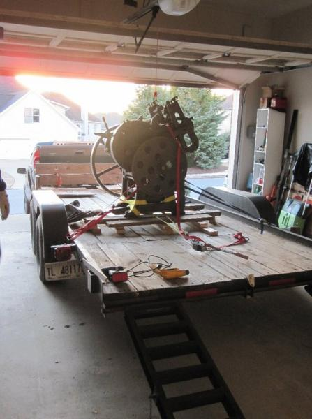 image: 18- Press on trailer in garage.... it is just too unsafe to more the press and we call it a day.