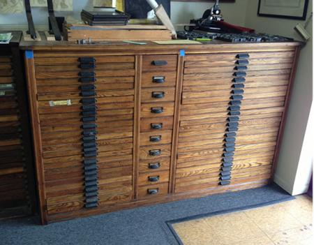 48 Drawer Oak Hamilton Type Cabinet And Cases Briar
